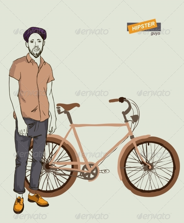 GraphicRiver Young Man with Bike 7351985