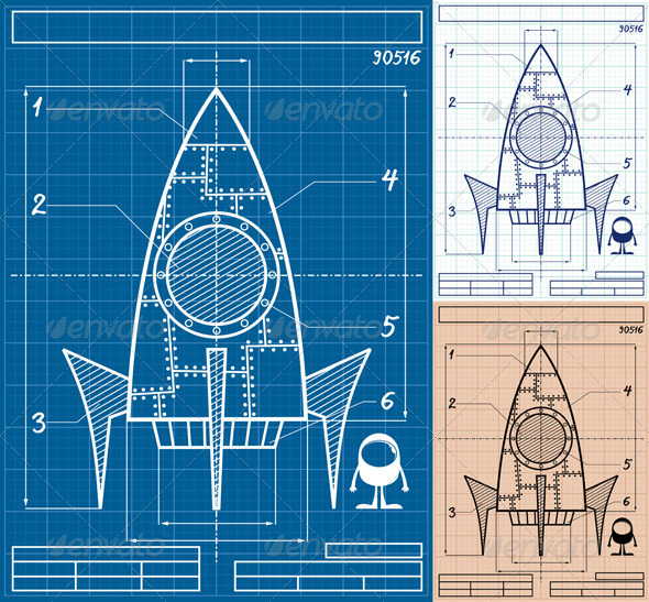GraphicRiver Rocket Blueprint Cartoon 7352167