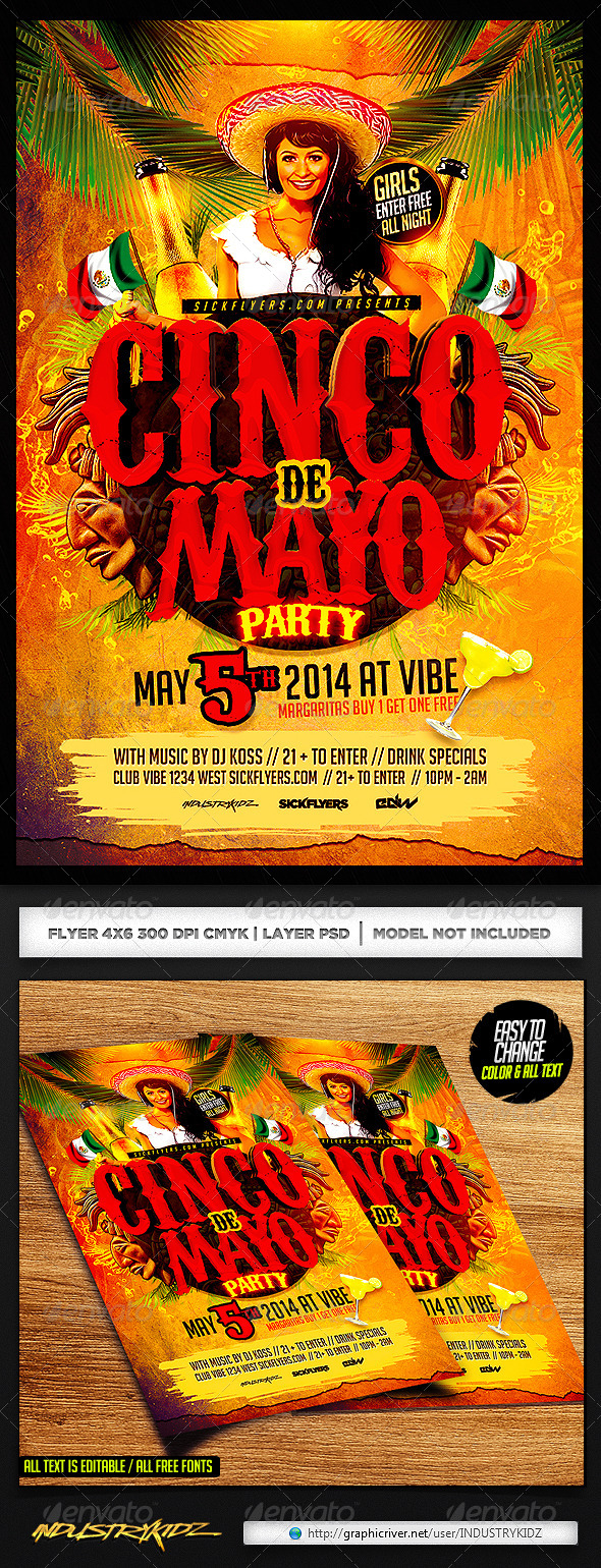 GraphicRiver Cinco de Mayo Flyer Template PSD 7352223