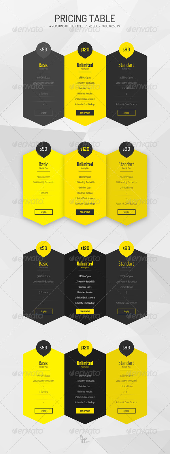 GraphicRiver Flat Pricing Table 7352397