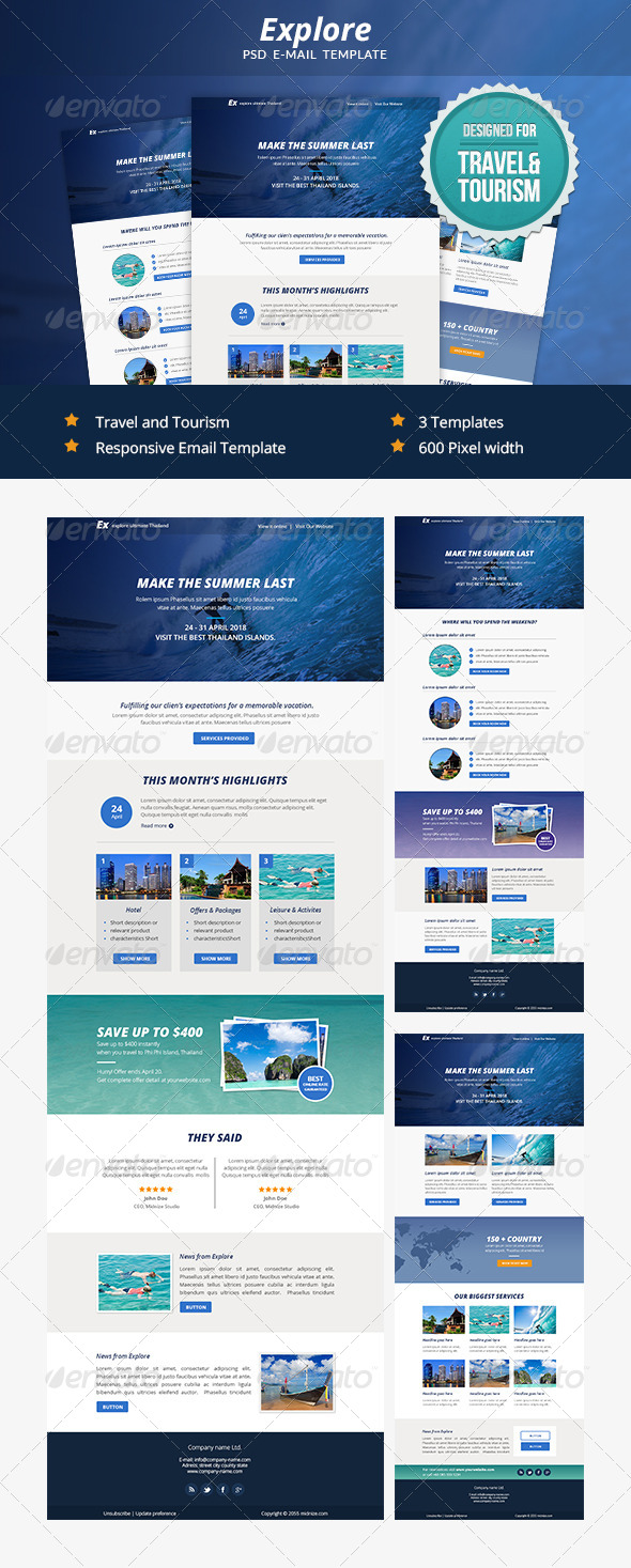 GraphicRiver Explore Travel PSD Email Newsletter Template 7352715