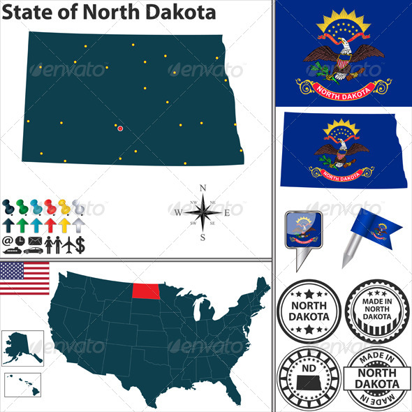 GraphicRiver Map of state North Dakota USA 7352884