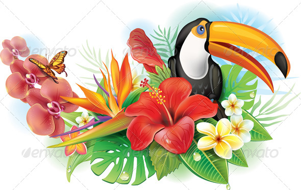 GraphicRiver Red Hibiscus Toucan and Tropical Flowers 7352990