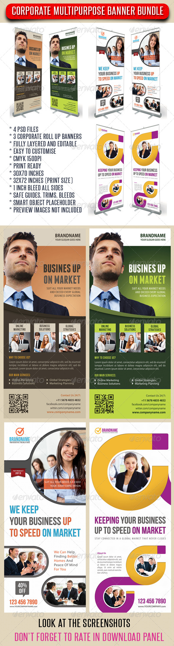 GraphicRiver 3 in 1 Corporate Rollup Banner Bunle 10 7353380