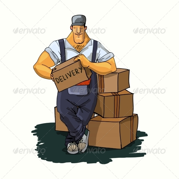 GraphicRiver Delivery Man with Boxes 7354105