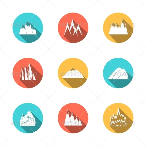 GraphicRiver Snowy Mountains Icons Set 7354110