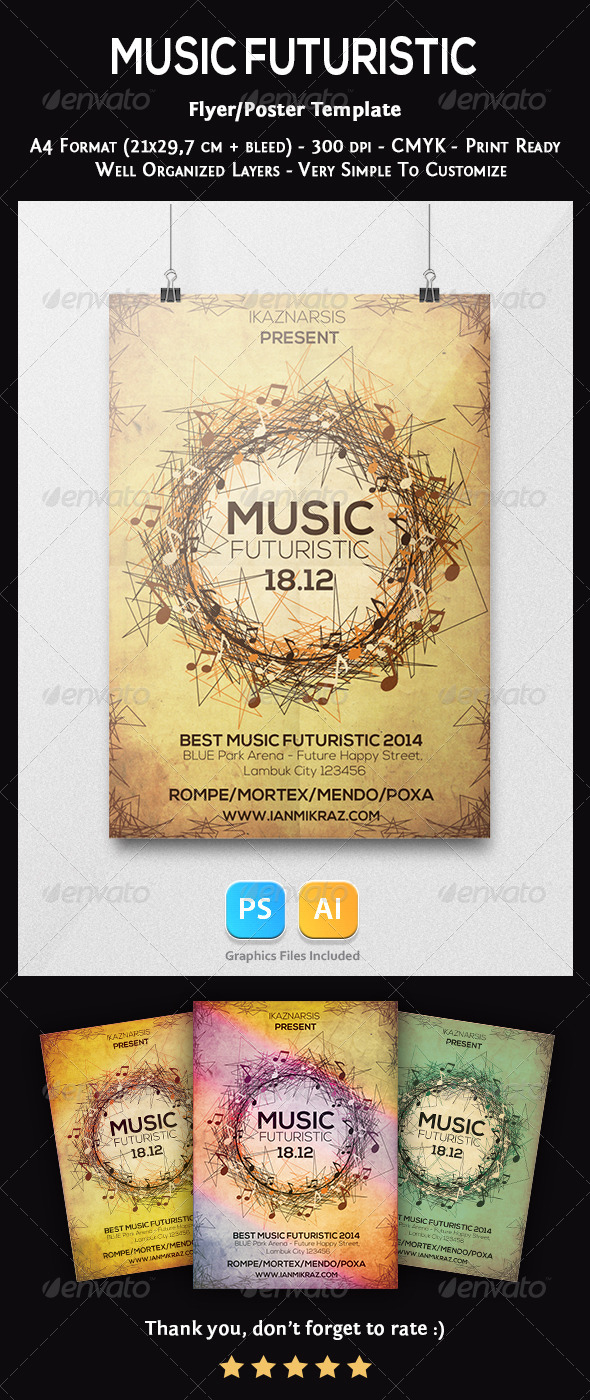 GraphicRiver Music Futuristic Flyer Template 7354129