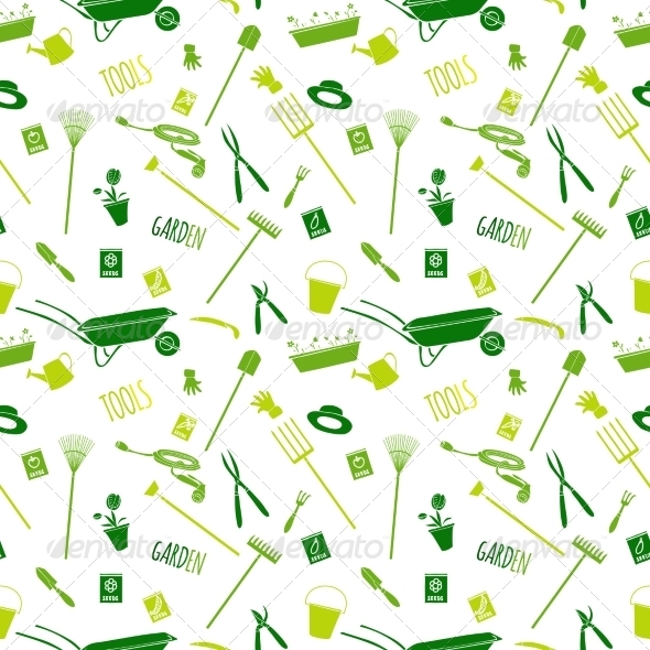 GraphicRiver Garden Tools Seamless Pattern 7354155
