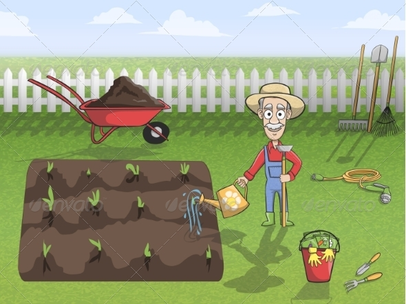 GraphicRiver Happy Gardener Character at Work 7354158