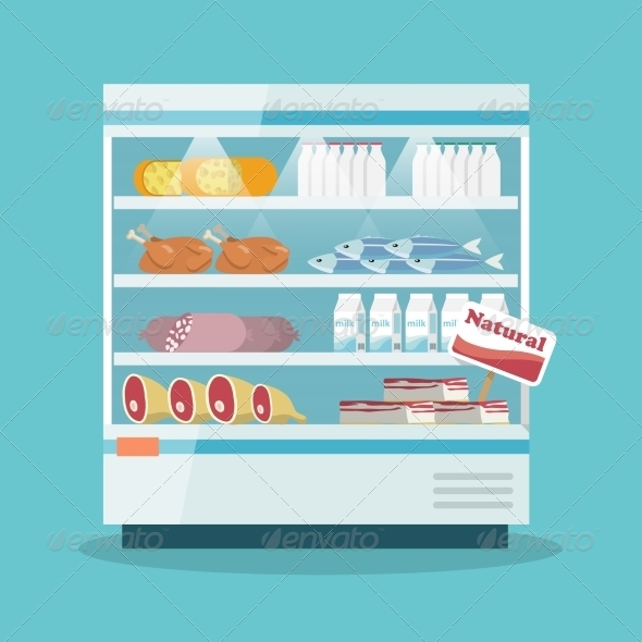 GraphicRiver Supermarket Cooling Shelves Food Collection 7354175