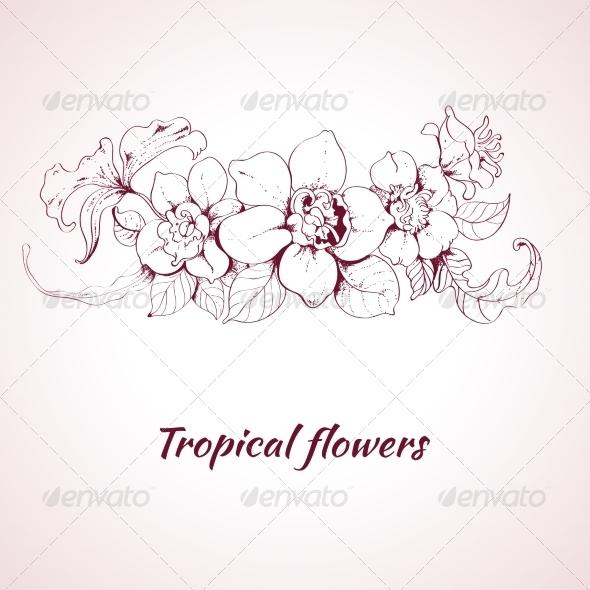 GraphicRiver Tropical Flower Sketch 7354217