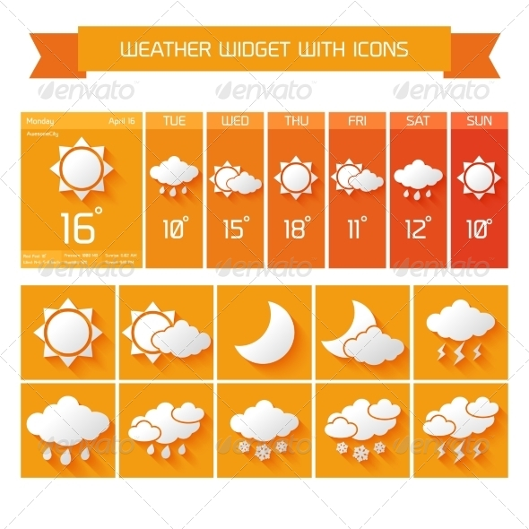 GraphicRiver Weather Widget Icons Set 7354232