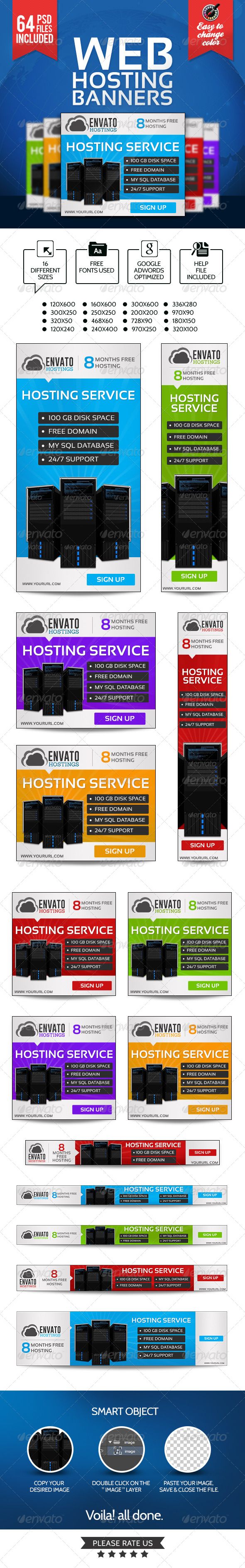 GraphicRiver Web Hosting Banners 64 PSDs 7354427