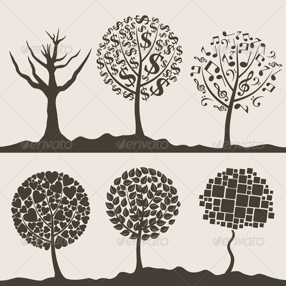 Graphic River Wood tree3 Vectors -  Conceptual  Nature  Flowers & Plants 761749