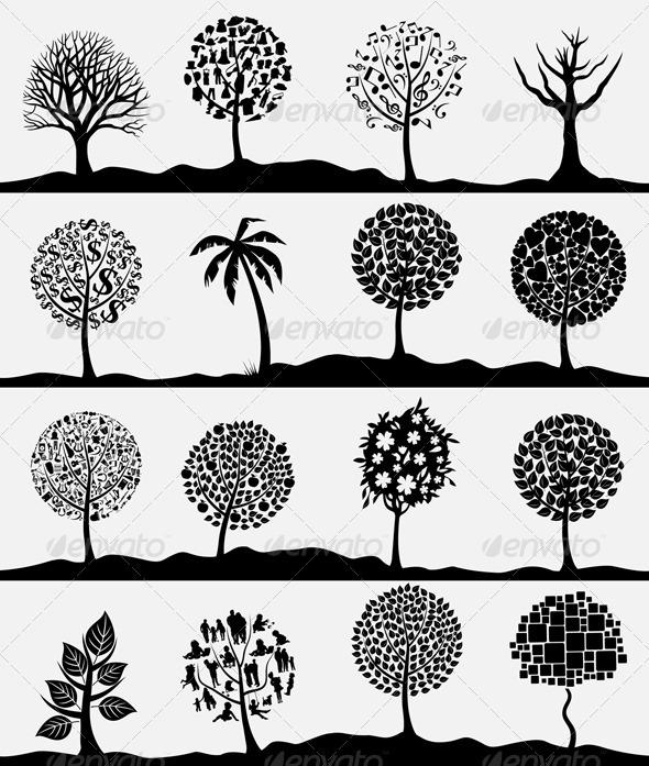 Graphic River Wood tree4 Vectors -  Conceptual  Nature  Flowers & Plants 761753