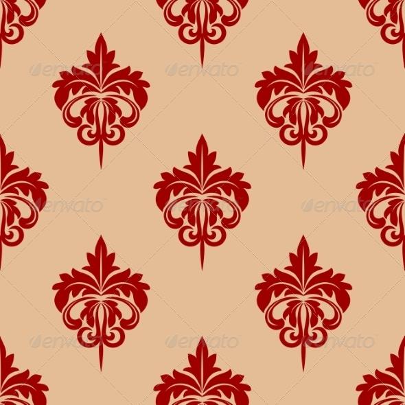 GraphicRiver Red Foliate Seamless Arabesque Pattern 7355629