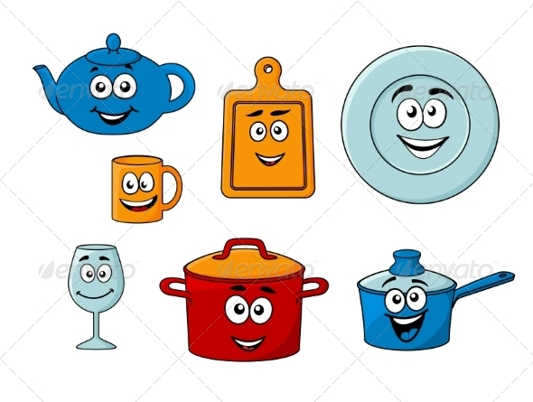 GraphicRiver Collection of Cartoon Kitchenware 7355718