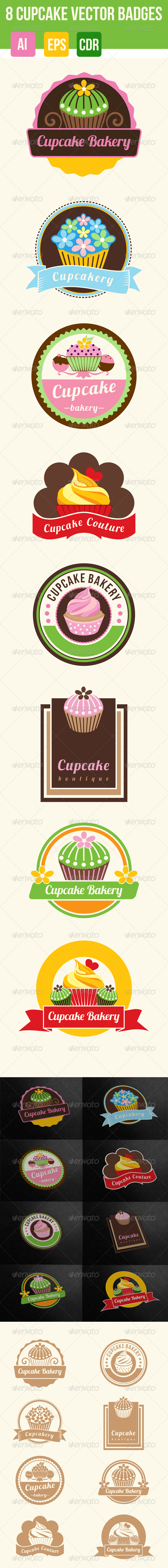 GraphicRiver 8 Cupcakes and Bakery Badges 7356004