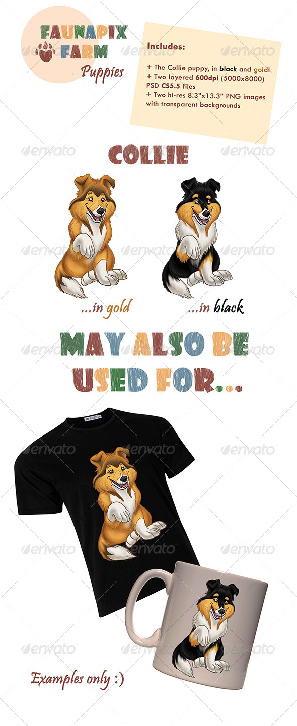GraphicRiver Collie Pups Illustrations 7356065