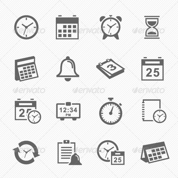 GraphicRiver Time and Schedule Stroke Symbol Icons Set 7357565