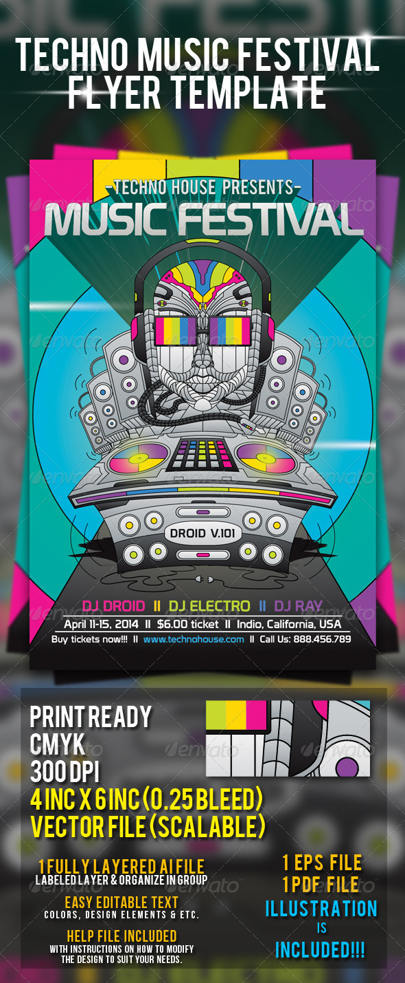 GraphicRiver Techno Music Festival Flyer Template 7358075
