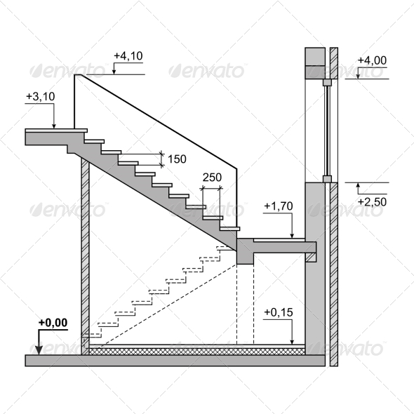 GraphicRiver Draft Project Stairs on White Background 7358178