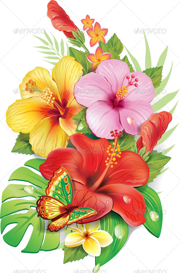 GraphicRiver Bouquet of Tropical Flowers 7358180