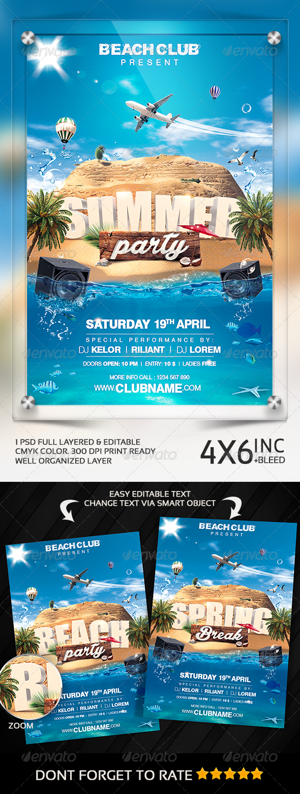 GraphicRiver Summer Party Spring Break Beach Party Flyer 7345943