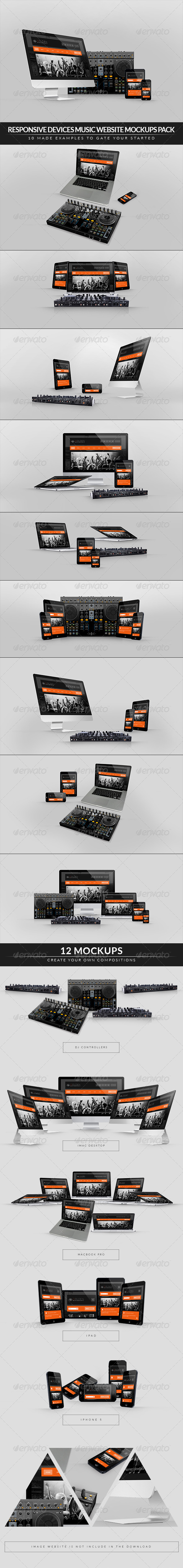 GraphicRiver Responsive Devices Music Website Mockups Pack 7359129