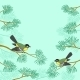 Titmouse on Pine Branch - GraphicRiver Item for Sale