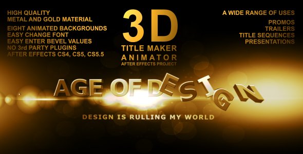 After Effects Project - VideoHive 3D Title Maker Animator 762177