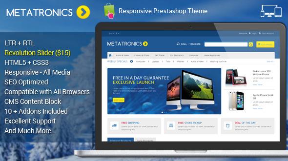 ThemeForest Meta Tronics Prestashop Responsive Theme 7297800