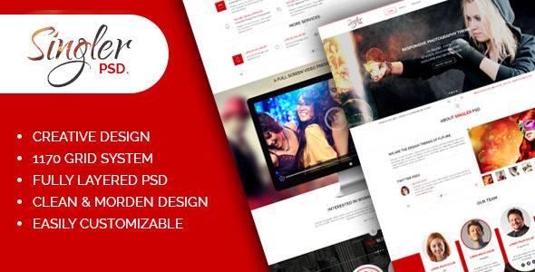 ThemeForest Singler One Page Portfolio PSD Template 7360376