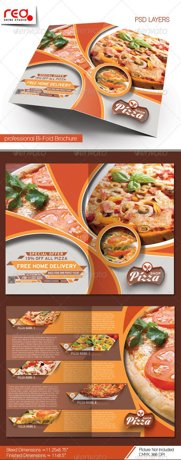 GraphicRiver Pizza Shop Bi-fold Brochure Template 7360384