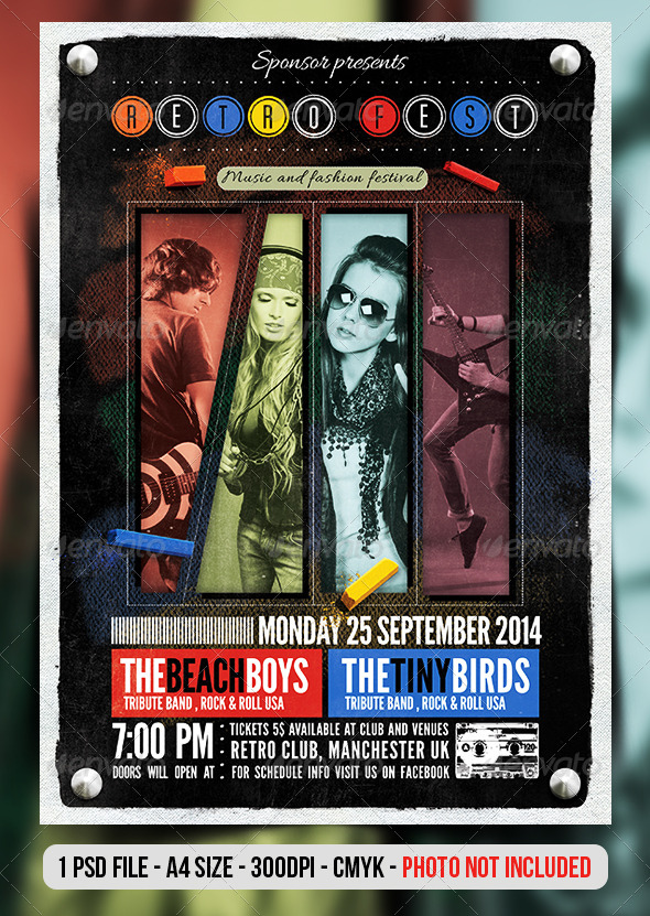 GraphicRiver Retro Vintage Indie Concert Flyer Poster 7351653