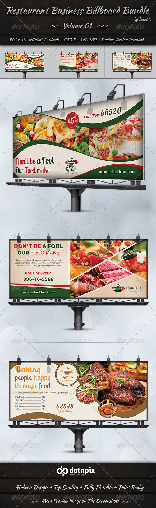 GraphicRiver Restaurant Business Billboard Bundle Volume 1 7360719