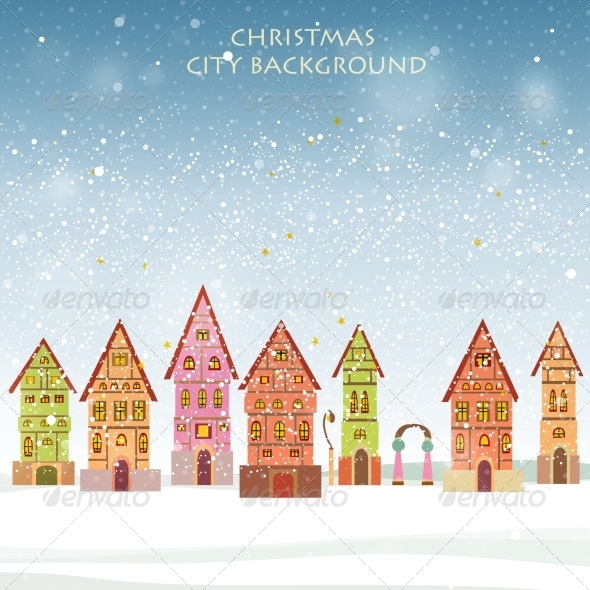 GraphicRiver Christmas card with historical buildings 7360767