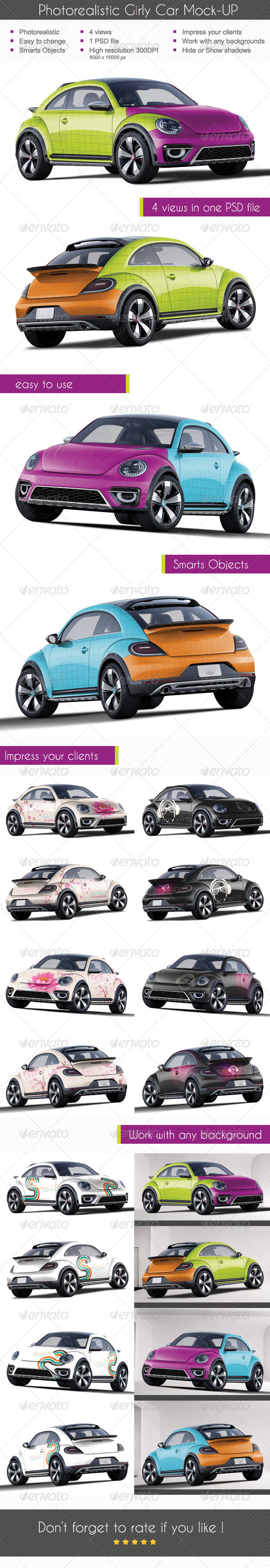 GraphicRiver Photorealistic Girly Car Mock-up 7360817