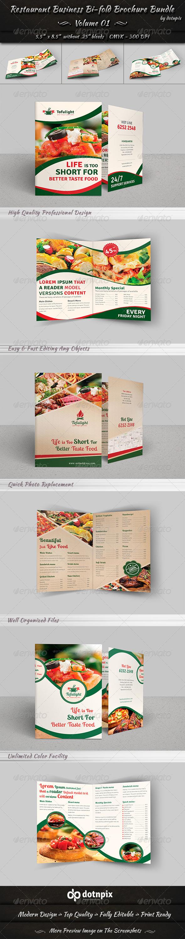 GraphicRiver Restaurant Bi-fold Brochure Bundle Volume 1 7360849