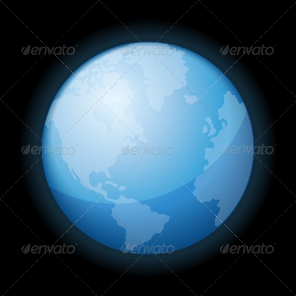 GraphicRiver Globe Icon of the World on Black Background 7360899