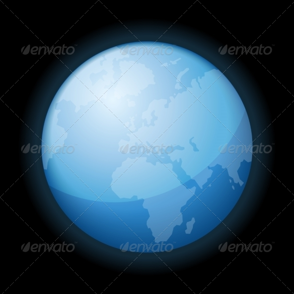 GraphicRiver Globe Icon of the World on Black Background 7360901