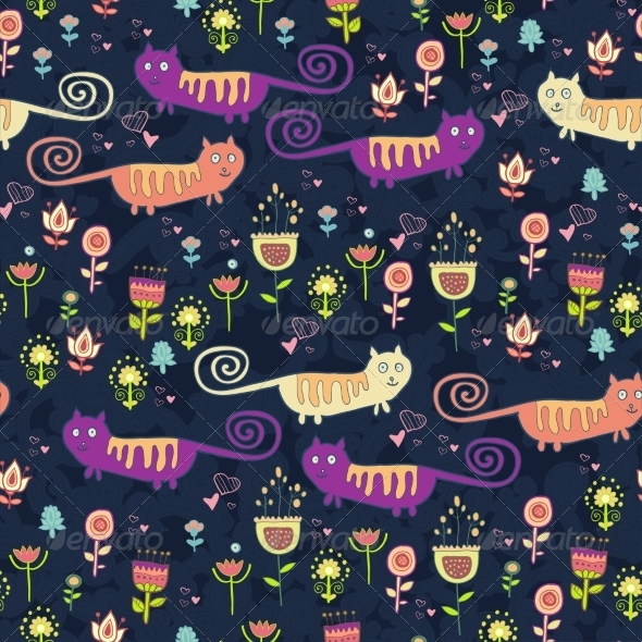 GraphicRiver Bright Cartoon Pattern with Animals 7360955