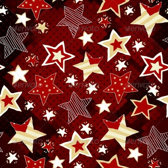 GraphicRiver Bright Stars on Red Mosaic Background 7361015