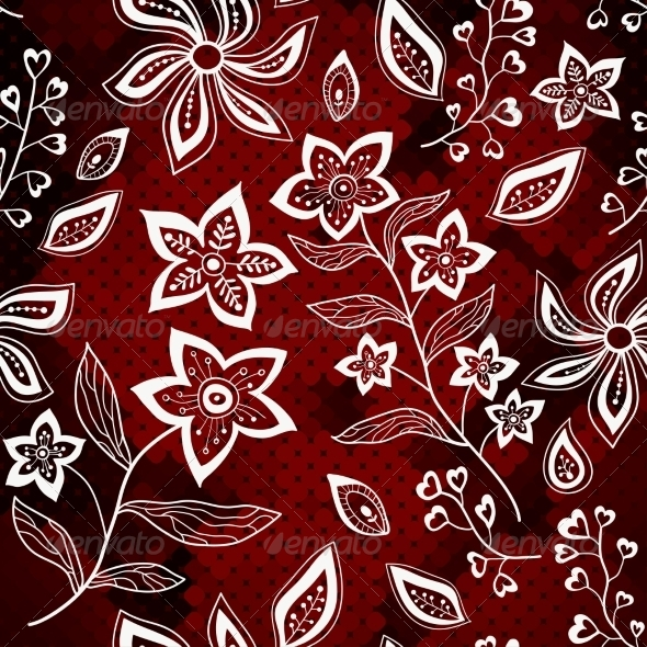 GraphicRiver White Floral Pattern on Red Mosaic Background 7361023