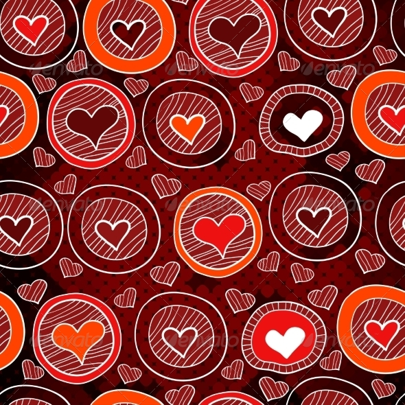 GraphicRiver Red Pattern with Hearts in the Circles 7361119