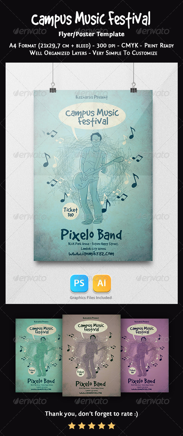 GraphicRiver Campus Music Festival Flyer Template 7361619