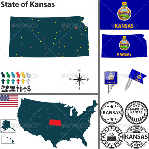 GraphicRiver Map of State Kansas USA 7361790