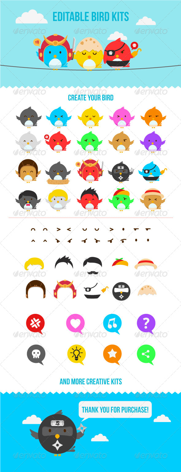 GraphicRiver Editable Bird Characters Pack 7030571