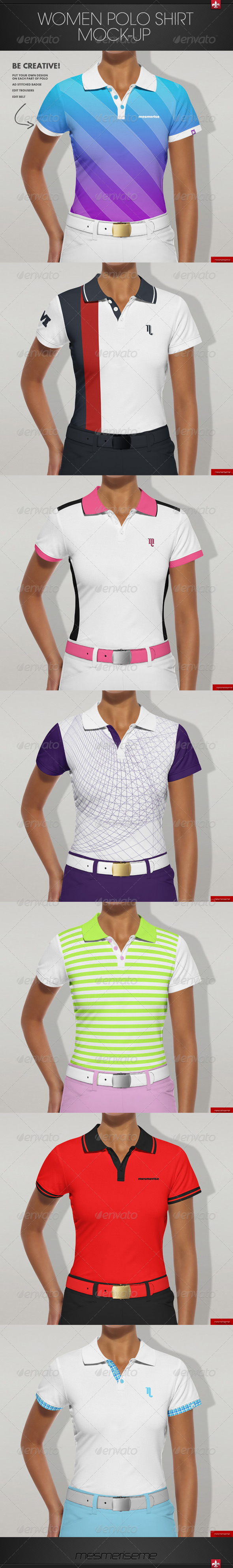 GraphicRiver Women Polo Shirt Mock-up 7352403