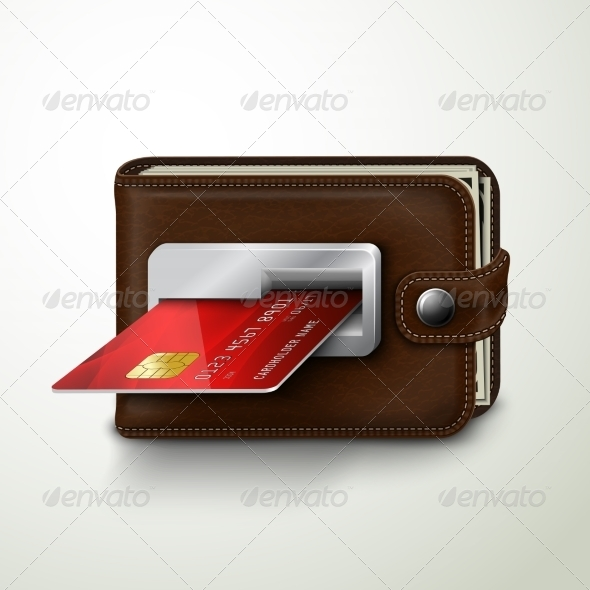 GraphicRiver Brown Leather Wallet ATM Bank Machine 7362893